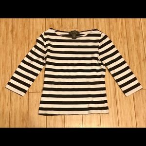 Black white striped soft long sleeve cropped top S